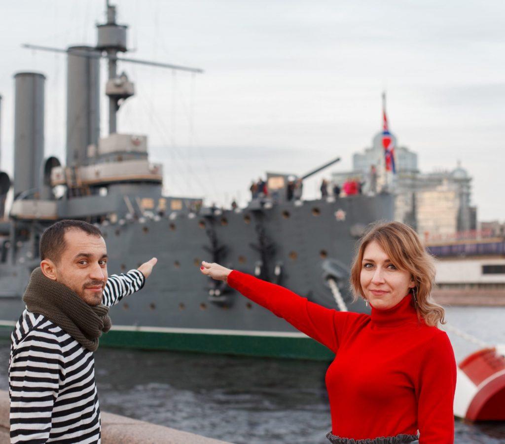 Le croiseur Aurore à Saint-Pétersbourg
