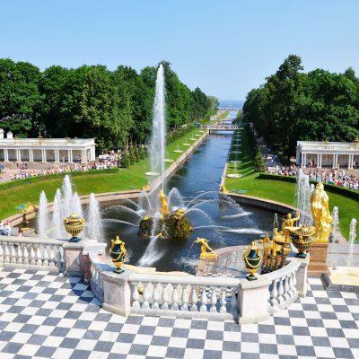 vu de haut sur le parc de Peterhof